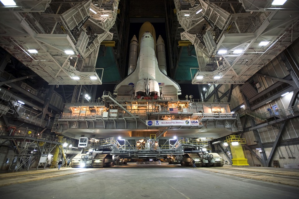 Shuttle rolling out to launch pad